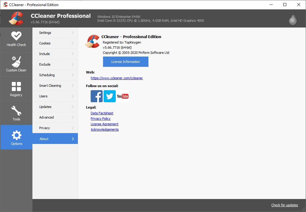 CCleaner Pro 5.66.7716 License Key + Crack {2020} Free Download