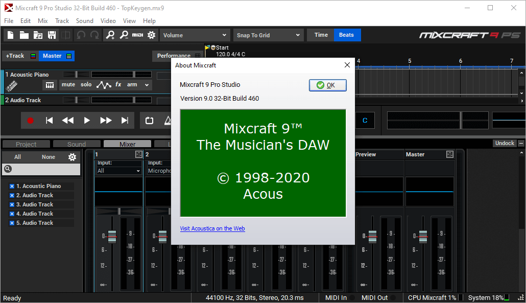 Acoustica Mixcraft Pro Studio 9.0 Build 460 License Key & Patch Free Download