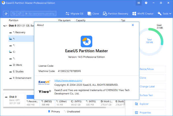 EaseUS Partition Master 14.5 Crack & Serial Key {2020} Free Download
