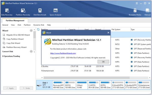 MiniTool Partition Wizard Technician 12.1 Patch & Keygen {Latest} Download